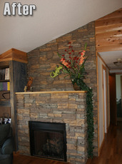 Indoor Fireplace with Artificial Rock Panels