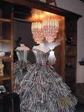My chandelier on display at Gentille Allouette in Gastown Vancouver alongside this amazing dress made from newspapers by Angela Bright. I was very excited as to how well the dress and the chandelier went together in conceptual styles.