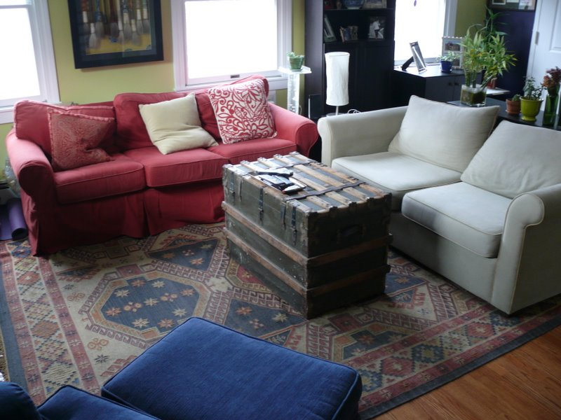 Crate And Barrel Stow Ottomans   Coffee Table Transformation