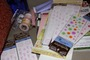 Scrapbooking supplies used to decorate cards