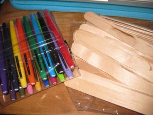 You'll need markers & the bigger size popsicle sticks