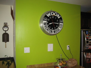 super cool clock.  a must have accessory for any green kitchen.