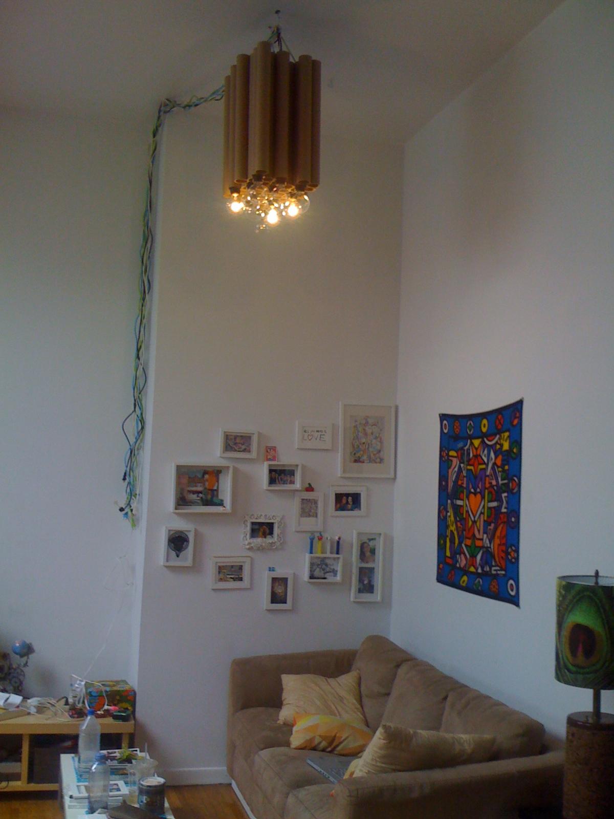 Makemania greencardboard tube diy chandelier aloadofball Choice Image